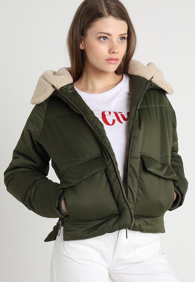 Urban Classics - LADIES SHERPA HOODED JACKET - Winter jacket - dark olive/dark sand