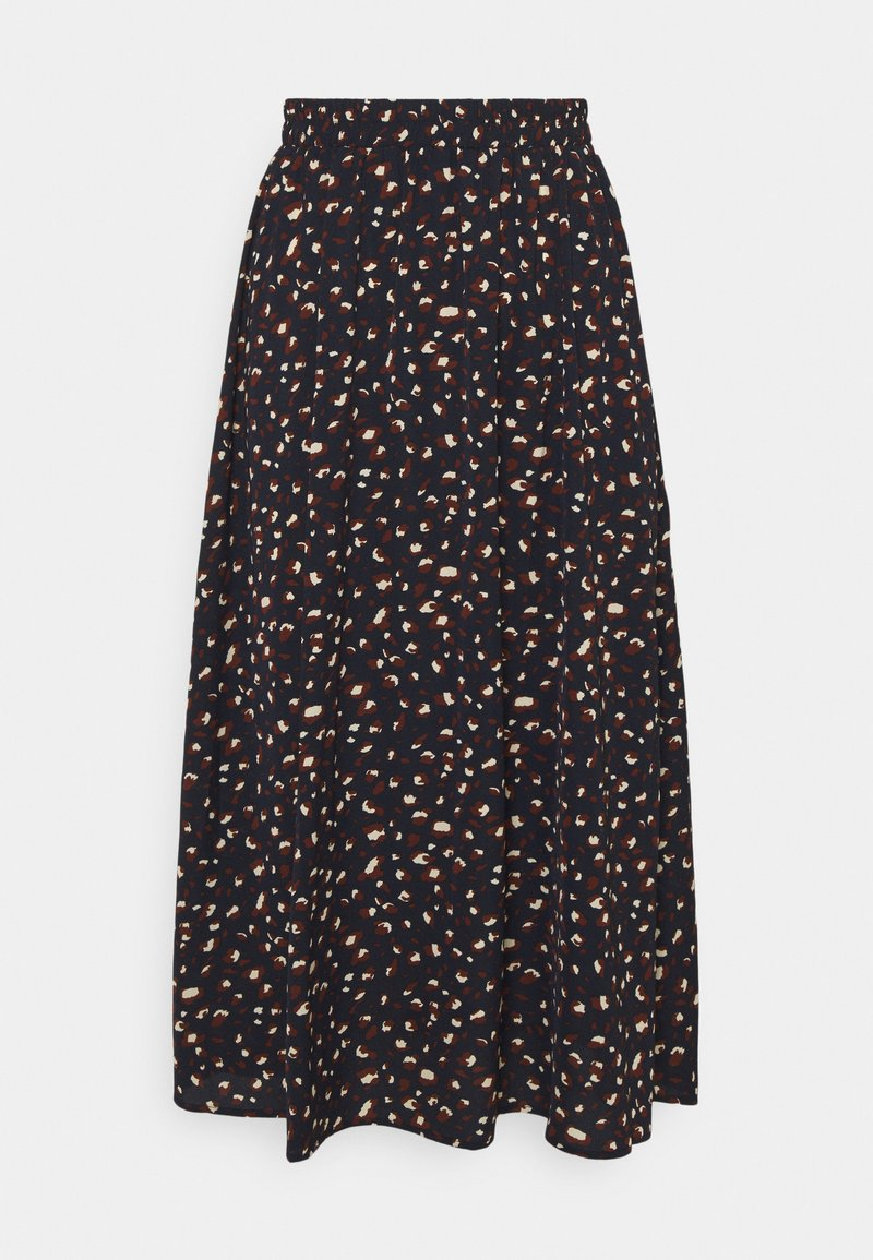 Pieces - PCDALLAH MIDI SKIRT - A-line skirt - maritime blue/brown
