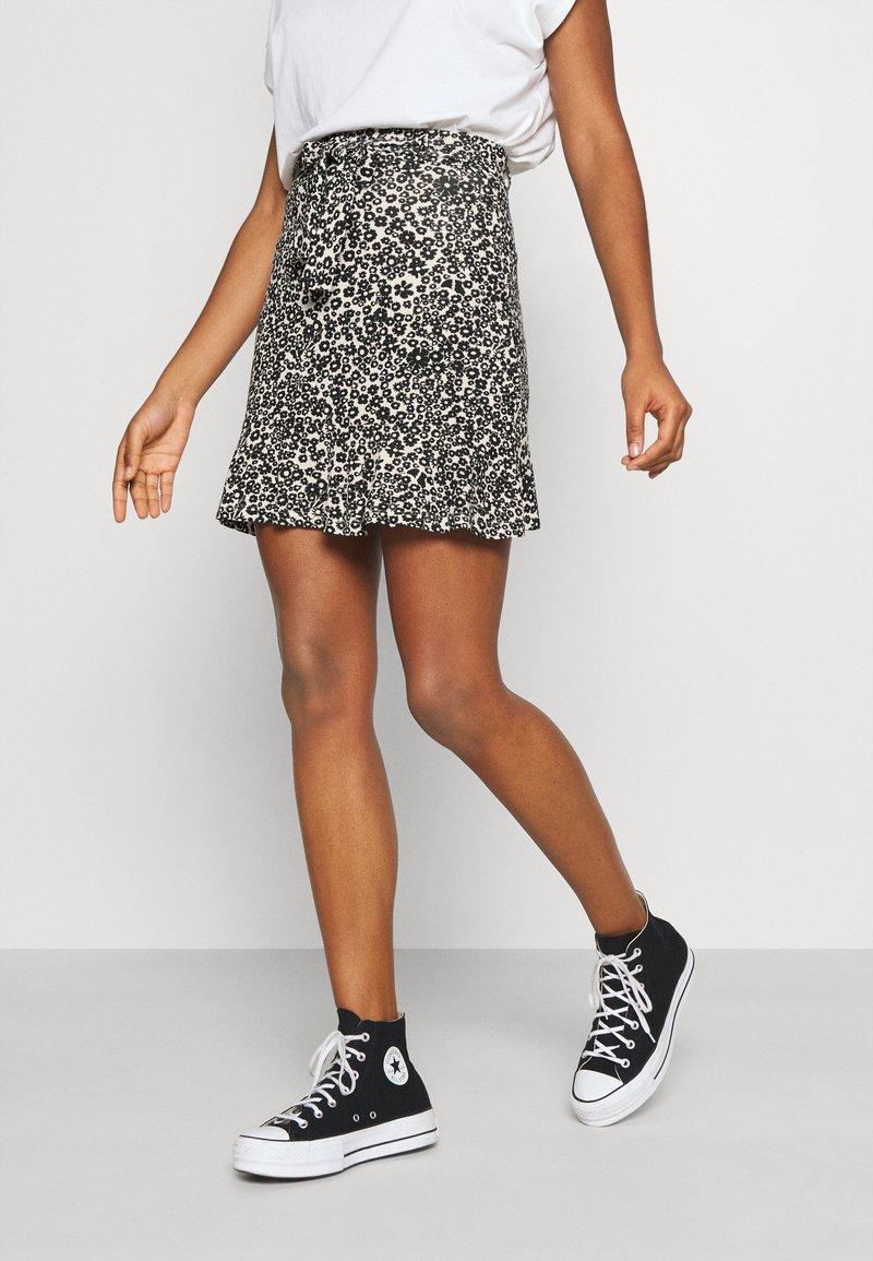 Even&Odd - Mini skirt - white/black