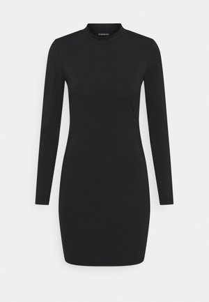 Mini high neck long sleeves bodycon dress - Etuikjole - black