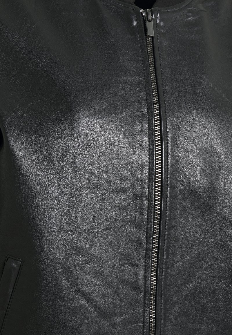 Vila VISHEEPO LEATHER JACKET - Lederjacke - black/schwarz bbGtgH