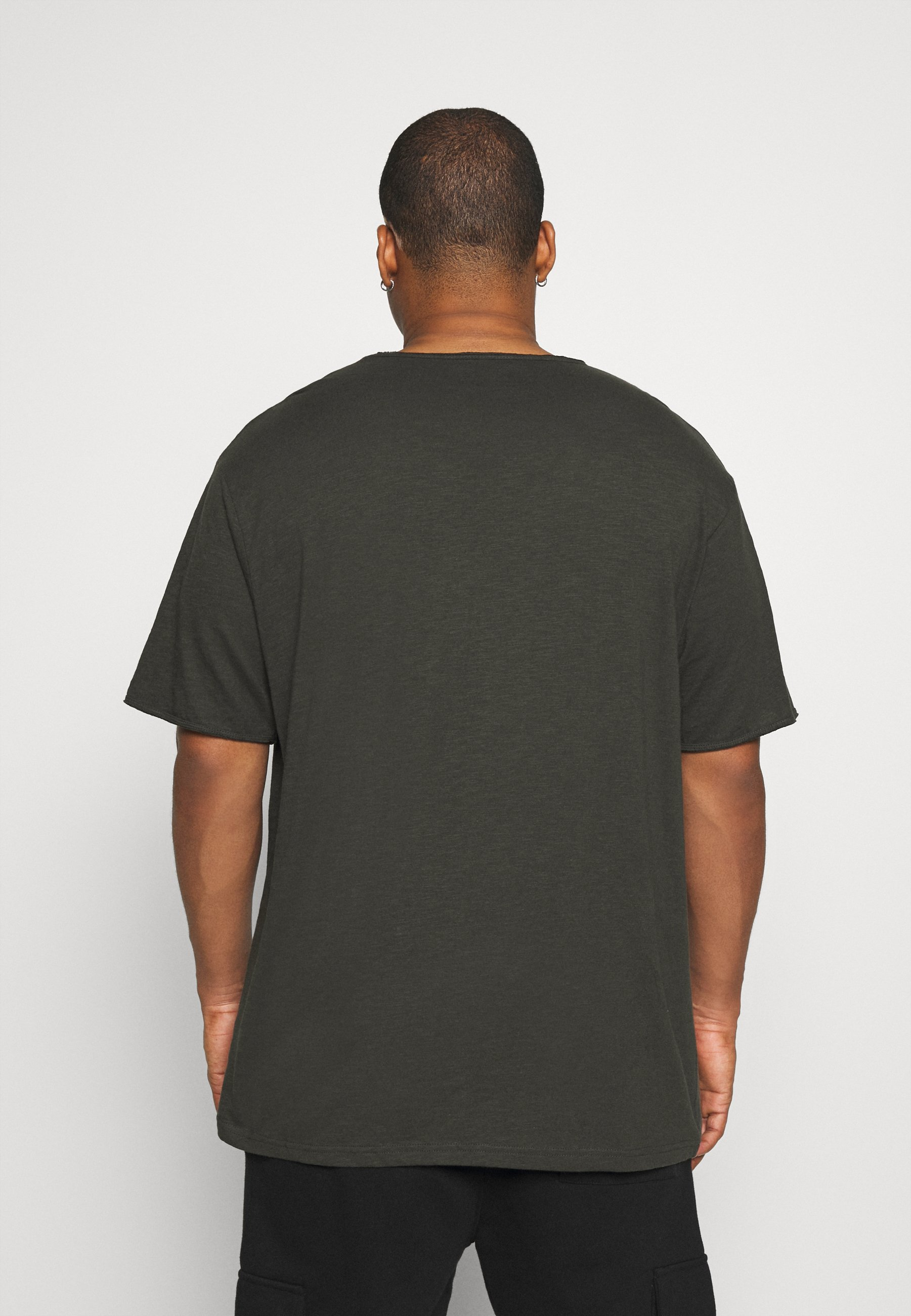 Jack´s Sportswear RAW VNECK SLUB TEE - Basic T-shirt - dusty black SOYni