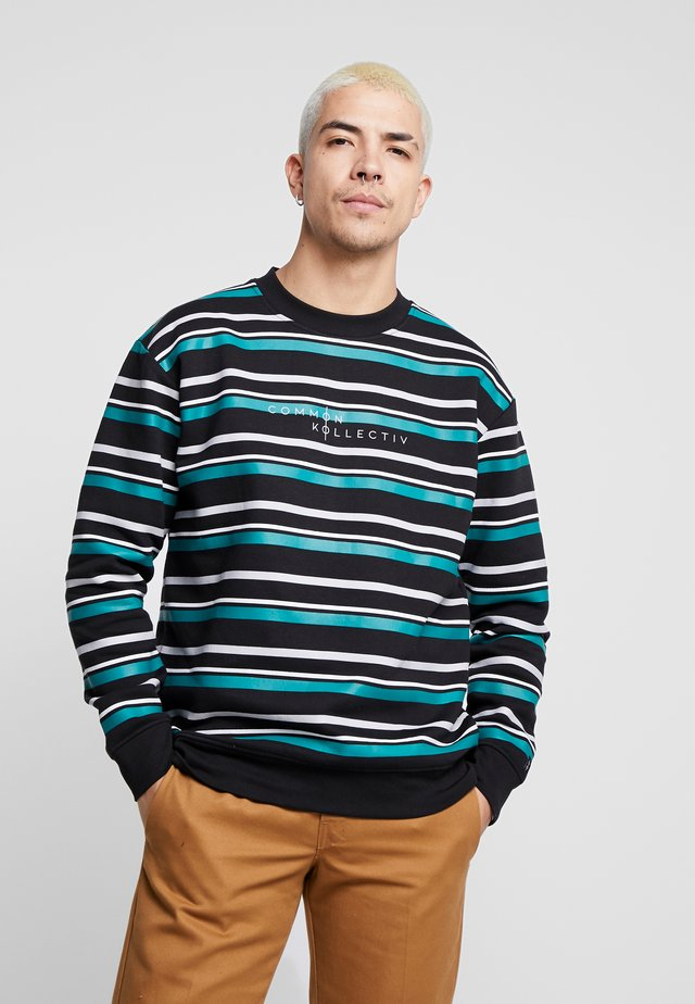 STRIPED GOLF CREW NECK - Sweatshirt - black