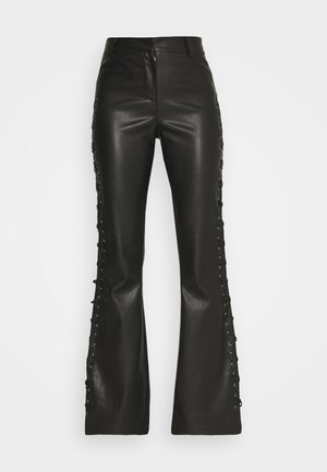 LACE UP FLARES - Trousers - black
