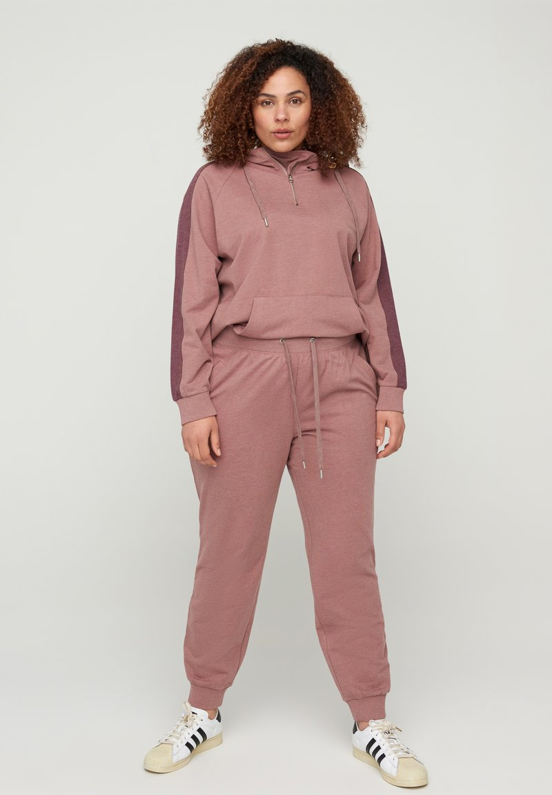 Active by Zizzi - Tracksuit bottoms - rose taupe melange