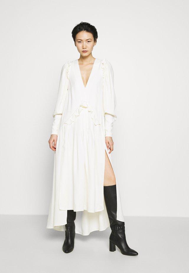 PUFF SLEEVE V-NECK DRESS - Długa sukienka - ivory