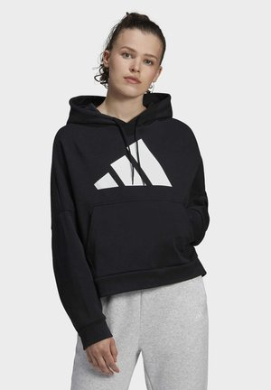 BACK ZIP GRAPHIC HOODIE - Hoodie - black