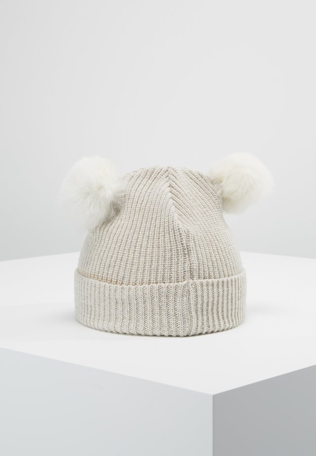 KIDS PATENT FOLD UP POMPOMS - Gorro - white/white