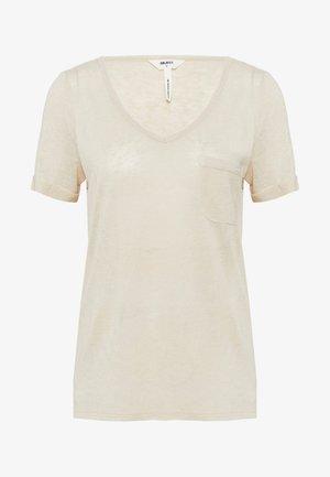 OBJTESSI V NECK  - Camiseta estampada - sandshell