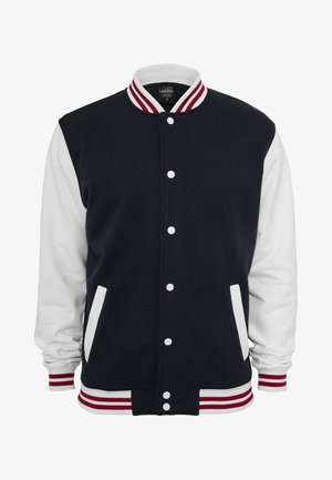 Huvtröja med dragkedja - navy/white/ruby