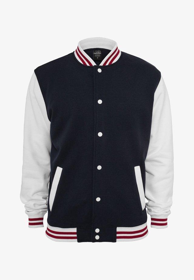 Zip-up hoodie - navy/white/ruby