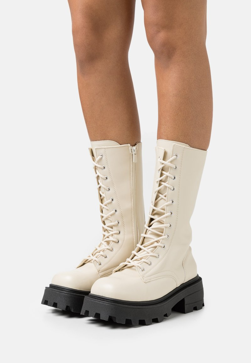 Topshop - KANA LACE UP BOOT - Lace-up boots - offwhite