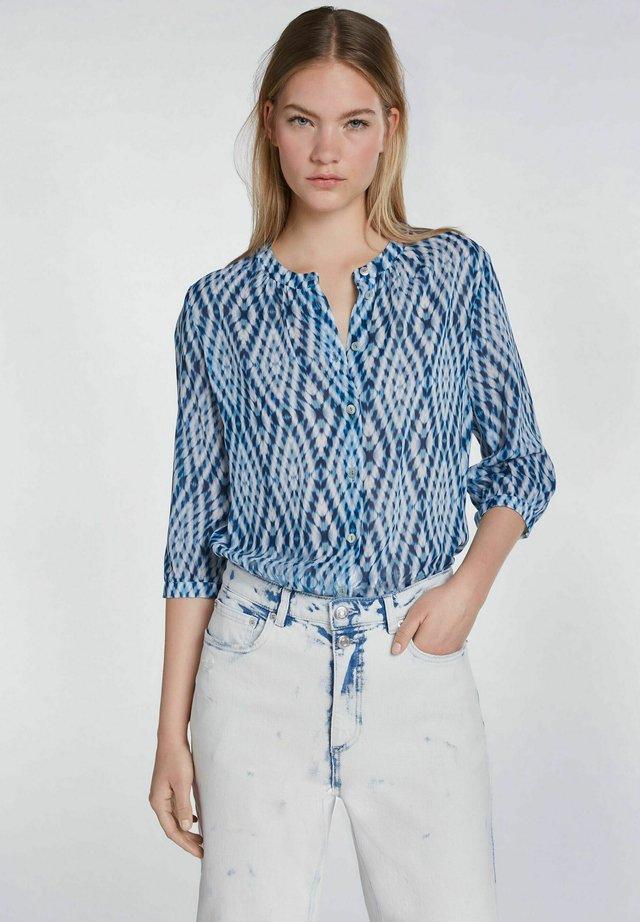 Bluse - white blue