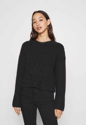 CROPPED WOOL BLEND JUMPER - Strikkegenser - black