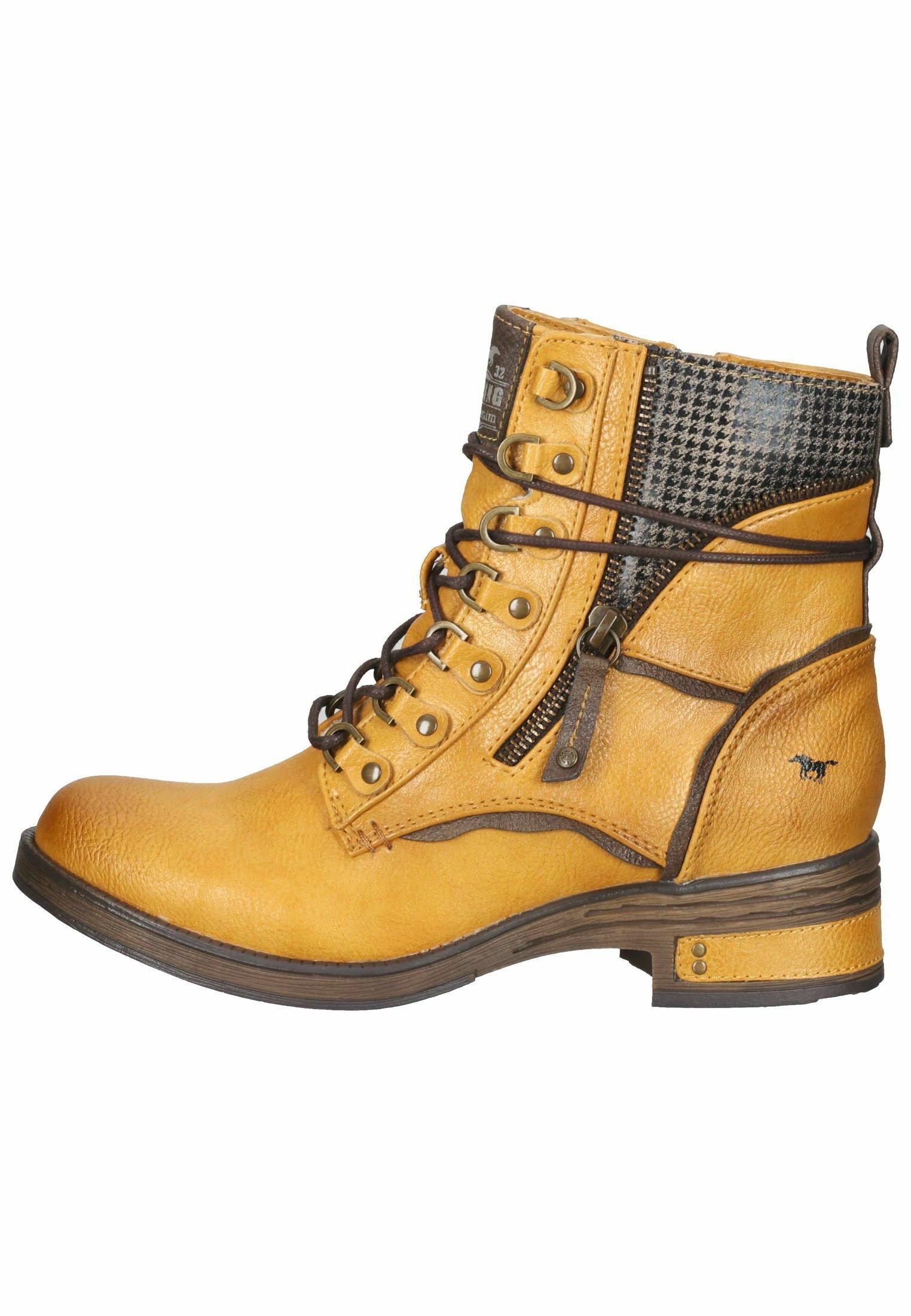 Damen Schnürstiefelette - gelb