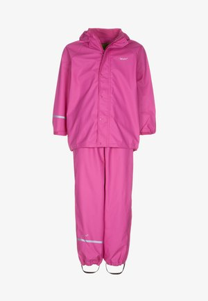 RAINWEAR SUIT BASIC SET WITH FLEECE LINING - Kalhoty do deště - real pink
