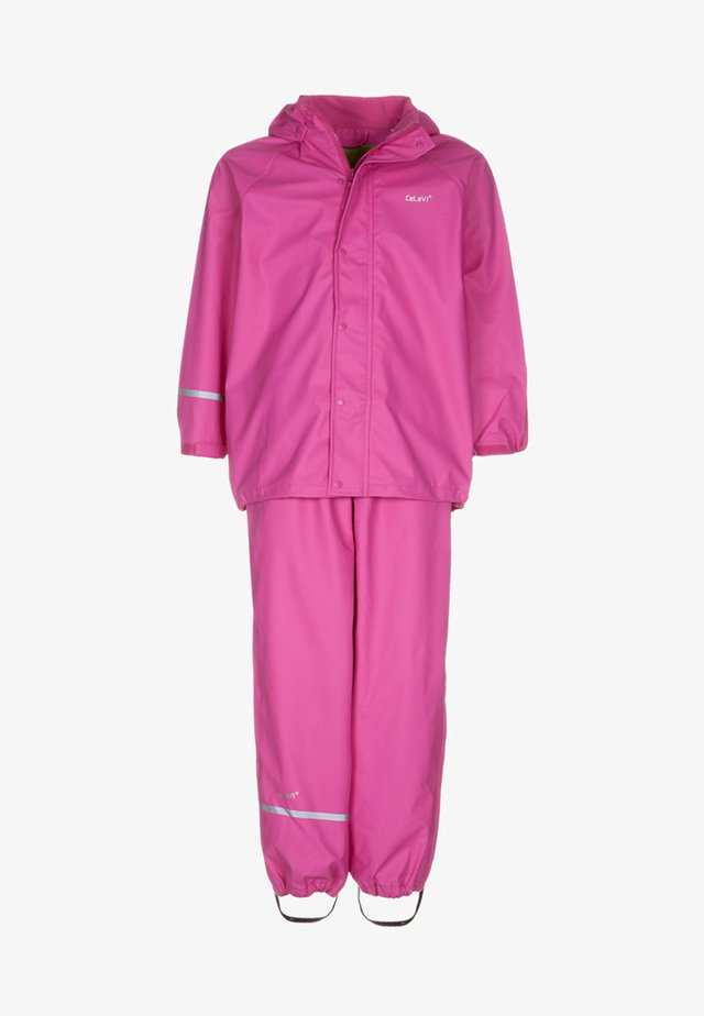 RAINWEAR SUIT BASIC SET WITH FLEECE LINING - Regnbyxor - real pink