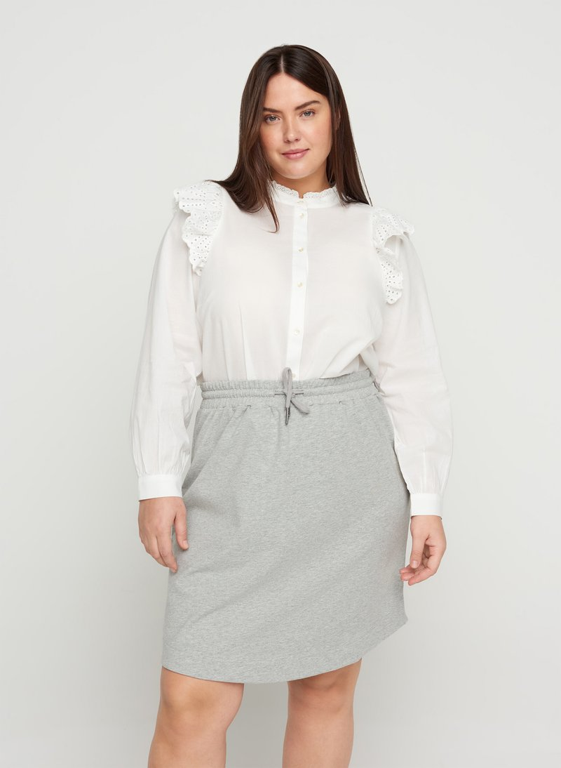 Zizzi - Mini skirt - light grey melange