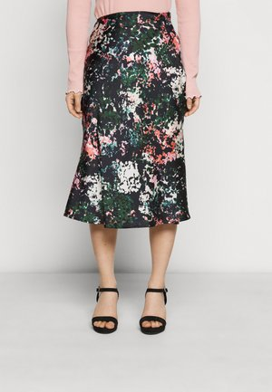 PRINT SLIP SKIRT - Pencil skirt - navy