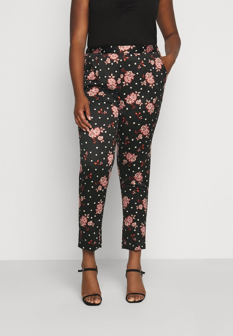 CAPSULE by Simply Be - PRINTED TAPERED TROUSERS - Bukse - black/coral