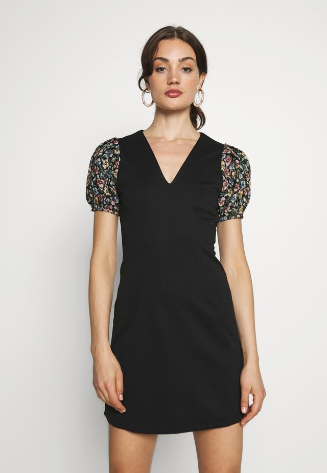 JACQUARD SLEEVE DETAIL MINI DRESS - Day dress - black