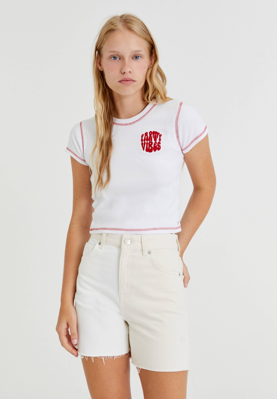 Femme MIT STICKEREIEN UND FARBLICH  - T-shirt imprimé
