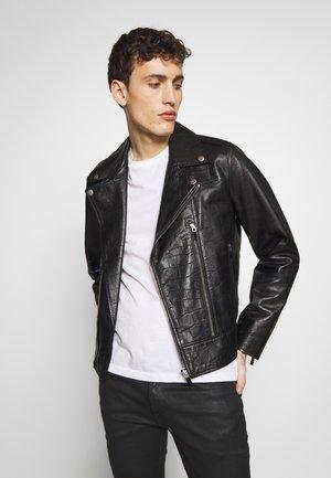 SPORTSJACKET BIKER - Leather jacket - black