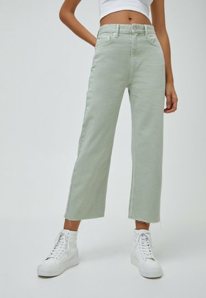 CROPPED - Jeansy Straight Leg - mottled light green
