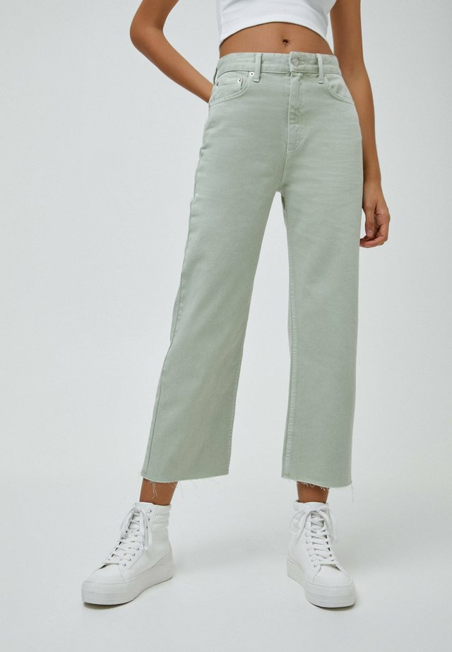 CROPPED - Džíny Straight Fit - mottled light green