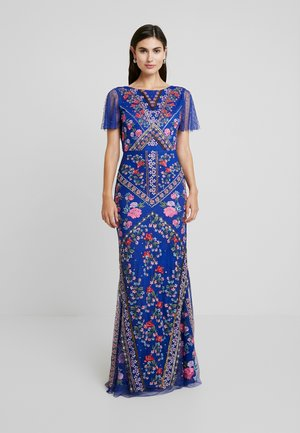 ALL OVER EMBROIDERED FLORAL MAXI DRESS - Ballkjole - cobalt/multi