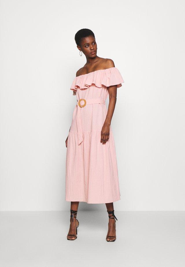 BARDOT TIERED SMOCK MIDI DRESS - Day dress - blush