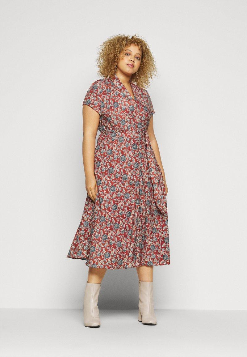 Lauren Ralph Lauren Woman - AMIT SHORT SLEEVE CASUAL DRESS - Day dress - red/multi