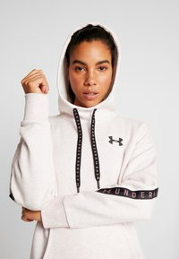 Under Armour - FLEECE HOODIE TAPED WM - Jersey con capucha - hushed pink medium heather/black - 3