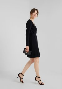 Davida Cashmere - WRAP OVER DRESS - Jumper dress - black - 1
