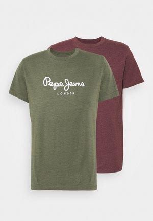 EGGO 2 PACK - Camiseta estampada - khaki/bordeaux