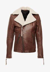 Tigha - FALCO - Veste en cuir - dark brown/beige - 6