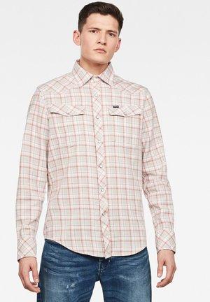 3301 SLIM LONG SLEEVE - Shirt - off-white, light grey, red