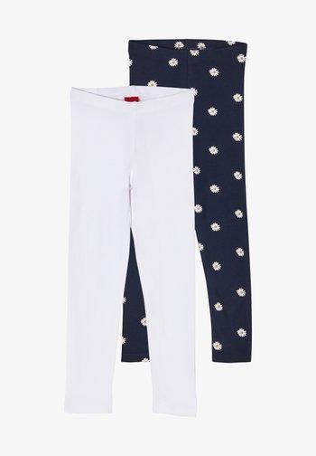 2 PACK - Leggings - Trousers - blue daisies/white uni