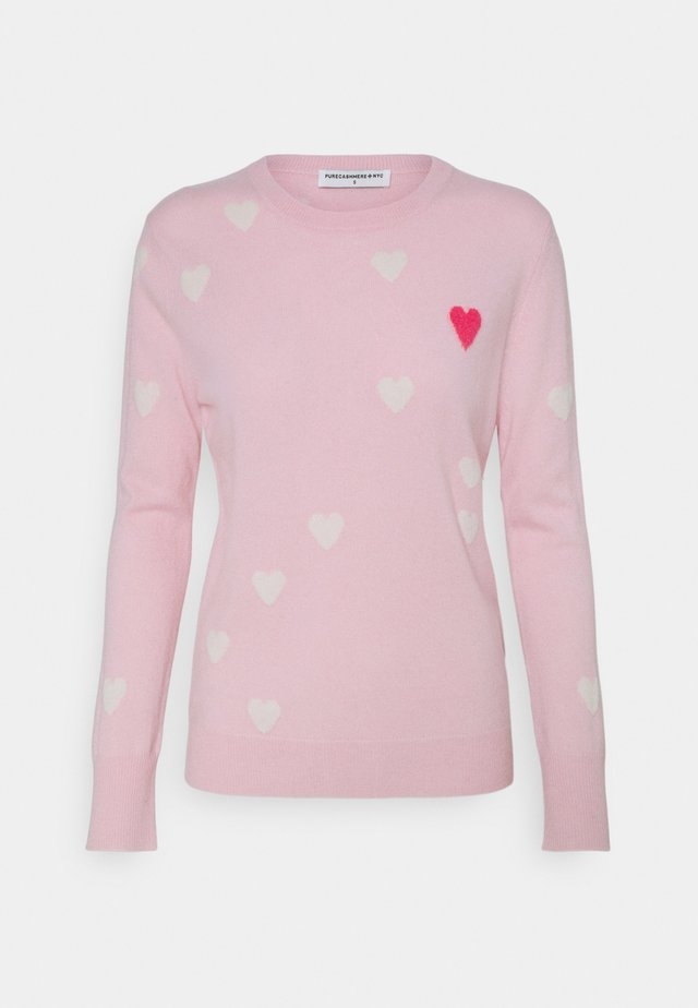 HEART  - Stickad tröja - pink/white