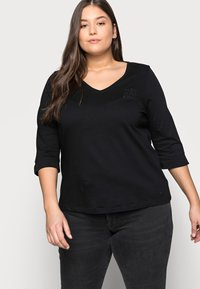 MY TRUE ME TOM TAILOR - WITH VNECK - Topper langermet - deep black - 3