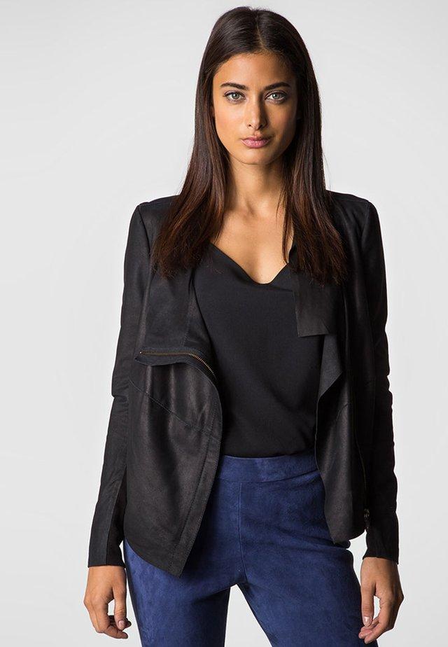 YOGI DRAPE  - Leather jacket - black