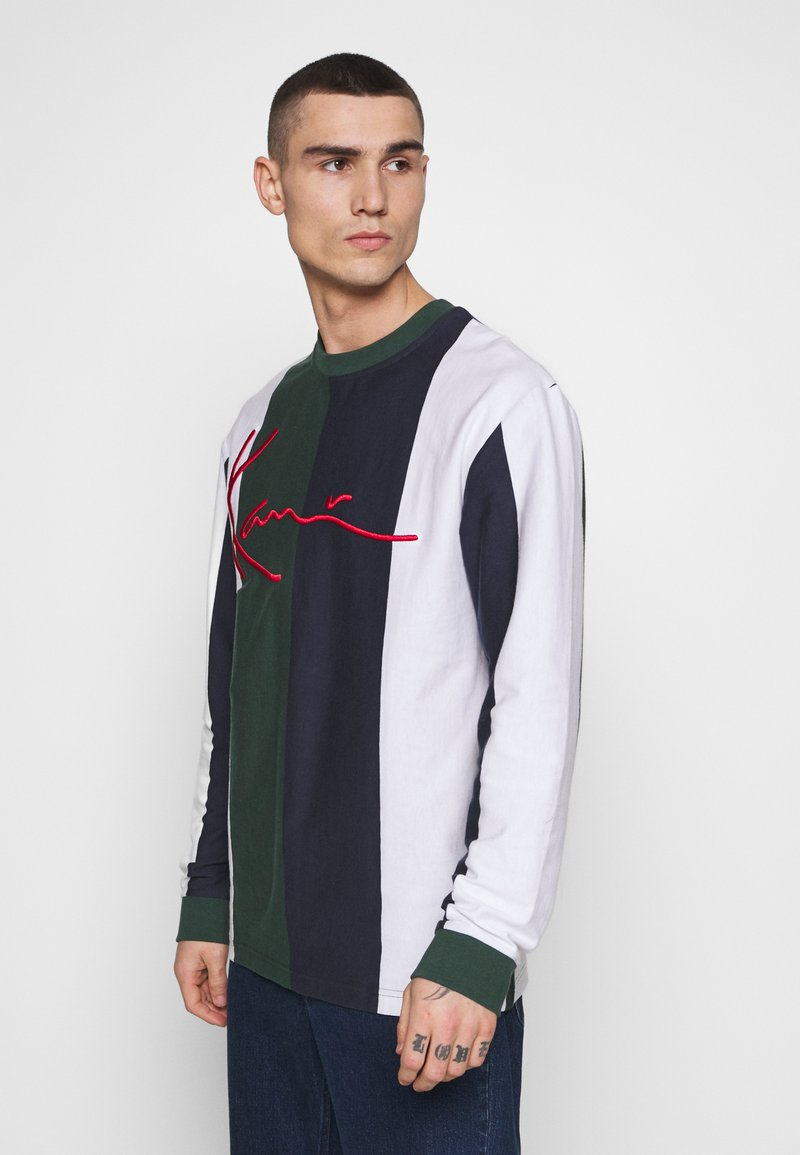 Karl Kani - SIGNATURE STRIPE LONGSLEEVE - Long sleeved top - green/white/navy/red