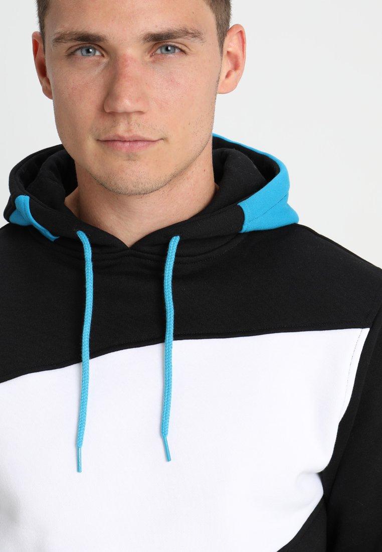 Urban Classics ZIG ZAG  - Hoodie - black/turquoise