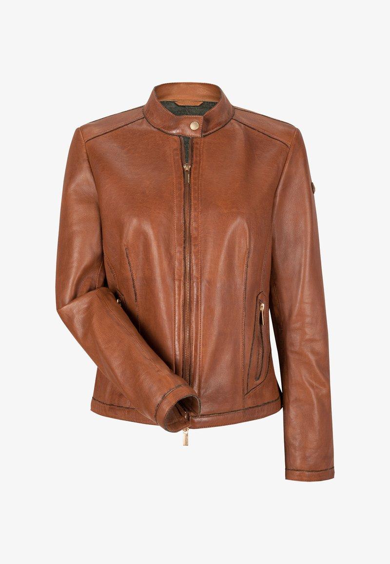 Milestone - LEDERJACKE - Leather jacket - dunkel/cognac