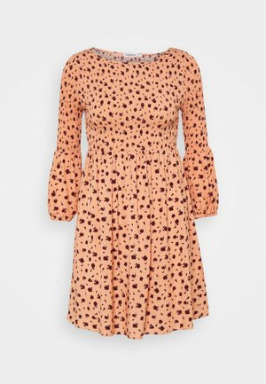 SMOCKED BUBBLE SLEEVE MINI DRESSES  - Day dress - peach ditsy floral