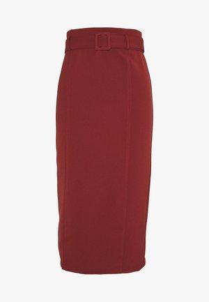 HIGH WAIST BELTED MIDI SKIRT - Pencil skirt - rust
