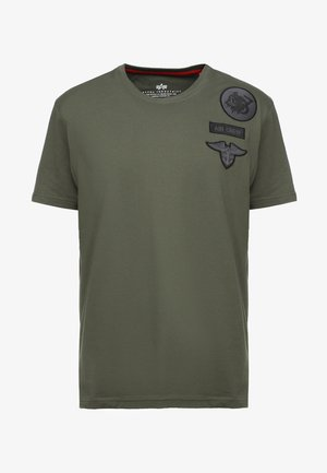 AIR CREW - T-shirt med print - dark oliv