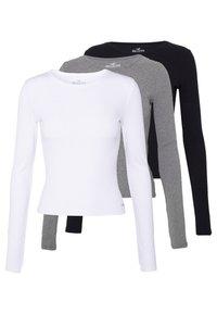 Hollister Co. - SLIM CREW BASIC 3 PACK - Top sdlouhým rukávem - white/grey/black - 0