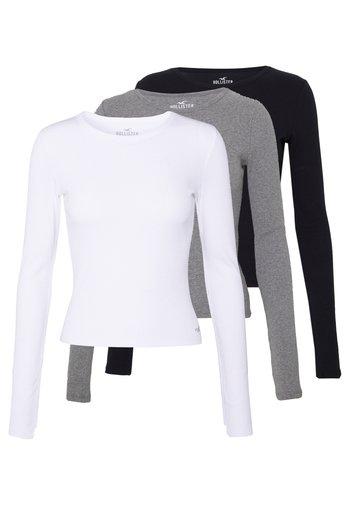 SLIM CREW BASIC 3 PACK - Topper langermet - white/grey/black