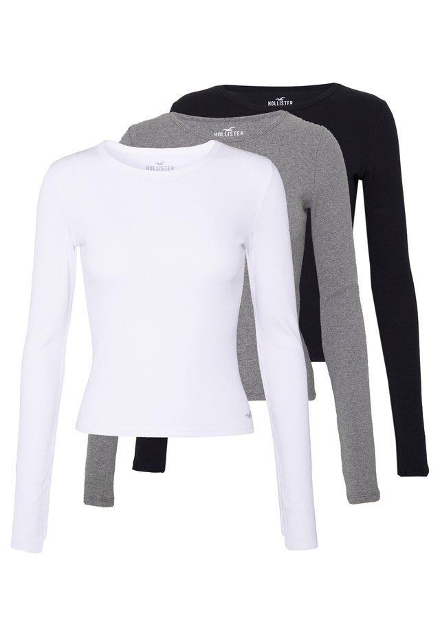 SLIM CREW BASIC 3 PACK - Bluzka z długim rękawem - white/grey/black